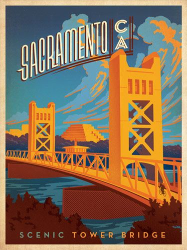 Sacramento: Tower Bridge - After winning international acclaim for creating the Spirit of Nashville Collection, designer and illustrator Joel Anderson set out to create a series of classic travel posters that celebrates the history and charm of America's greatest cities. He directs a team of talented Nashville-based artists to keep the collection growing.<br />
