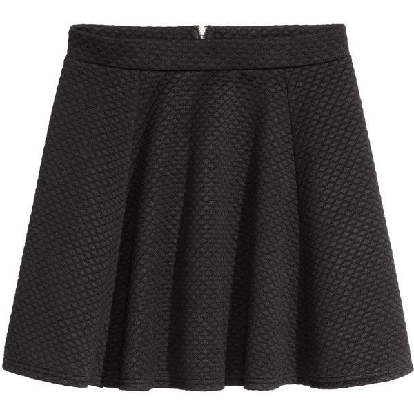 Tellerrock 14,99 ($9.99) ❤ liked on Polyvore featuring skirts, h&m, black, circle skirt, jersey skirt, skater skirt, flared skirt, jersey skater skirt and circle skirts