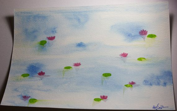 Lotus in water  Handmade original Watercolour by RunePineStudio