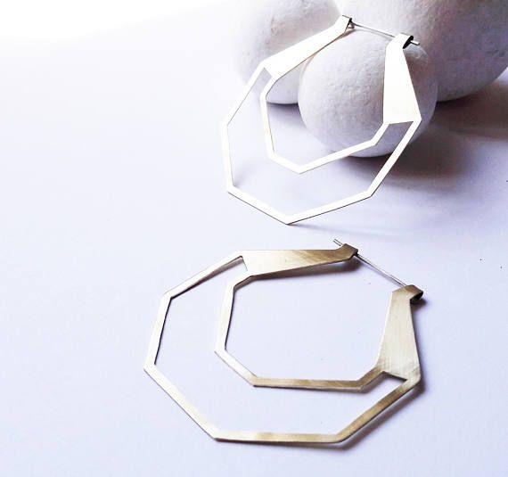Brass Hoop Earrings Large Hoop Earrings Big Hoop Zen Mixed