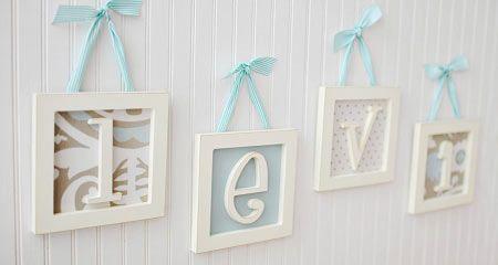 Framed Wooden Letters, Wooden Letters, Nursery Letters