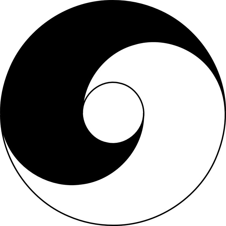 Esse diagrama apresenta uma simetria do sombrio e do claro. Uma  simetria dinâmica rotacional... uma espiral como o movimento do vinho em uma taça... para exalar seu buquê..., um movimento cíclico continuo. Os dois pontos do diagrama simbolizam que toda vez que cada uma das forças atinge seu ponto extremo, manifesta dentro de si a semente de seu oposto.