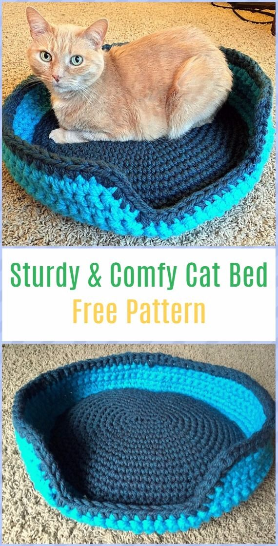 Crochet Sturdy & Comfy Cat Bed Free Pattern - Crochet Cat House Patterns