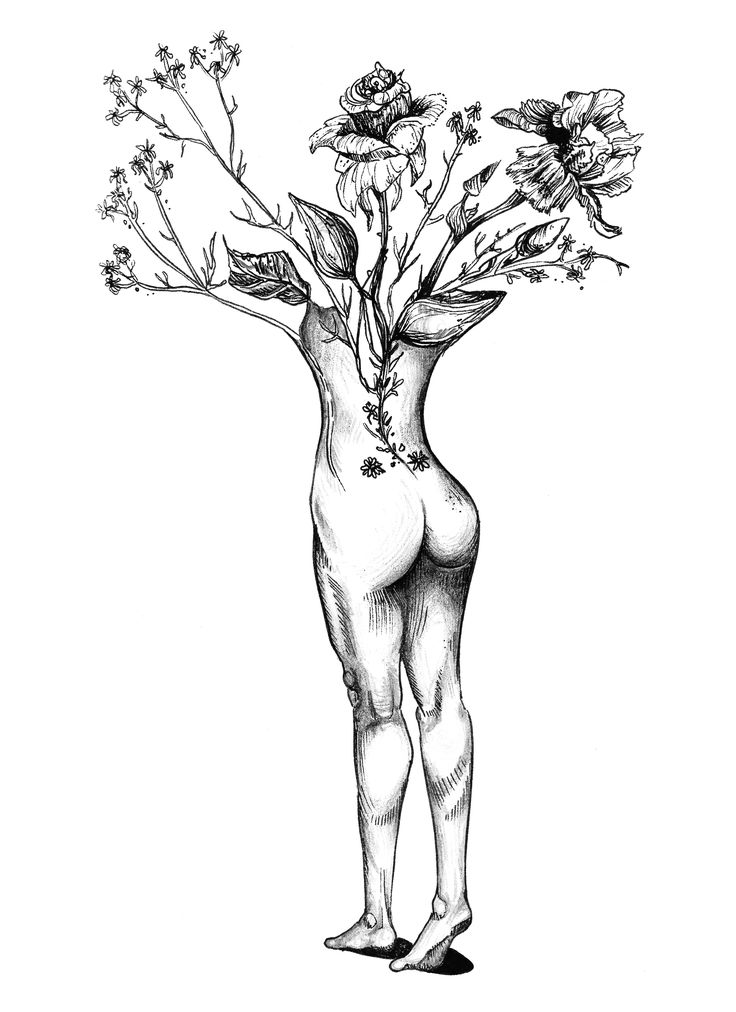 Girl and Flowers Minimalist Surrealist Illustration