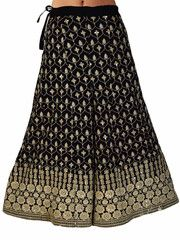 Divided Skirt In Black With Phulkari Embroidery - DPPS25MY3