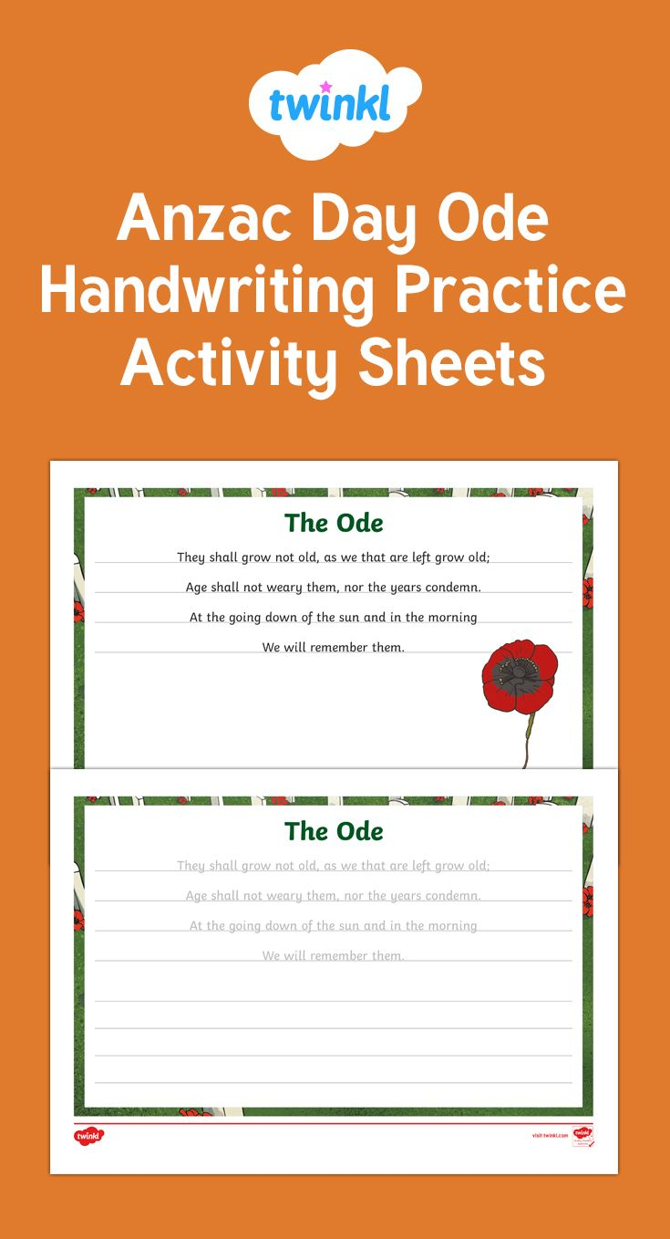 A very handy resource, allowing your children to practice writing using the familiar Anzac Ode. This resource is perfect for Anzac Day, or Remembrance Day.