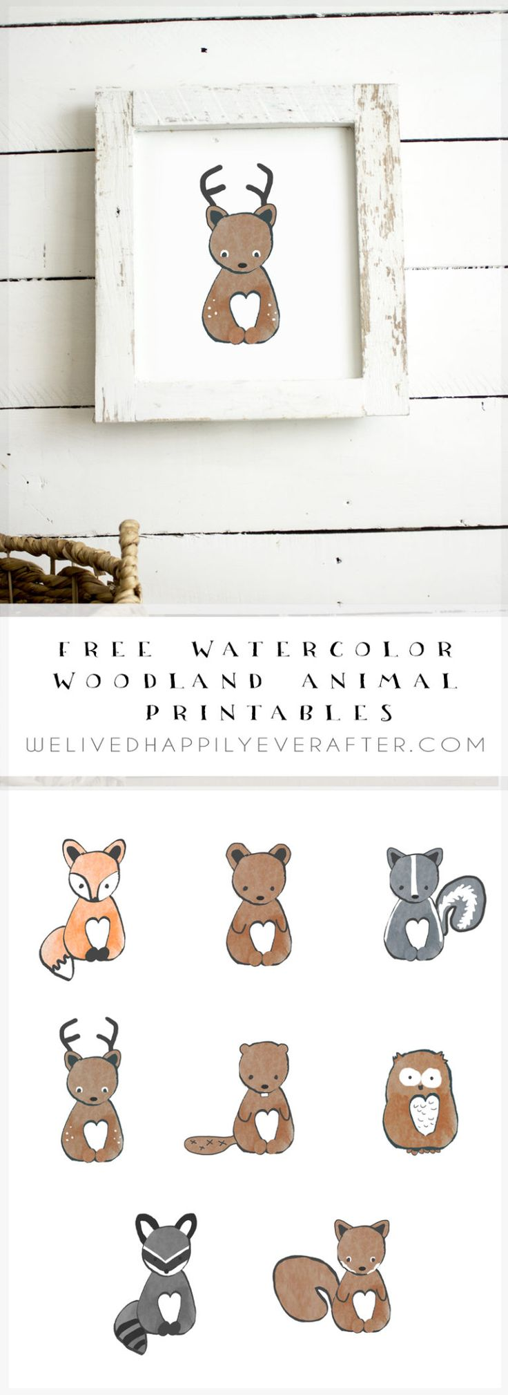 Free Watercolor Forest Woodland Animal Nursery Prints