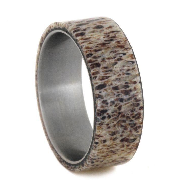 Titanium Mens Deer Antler Ring