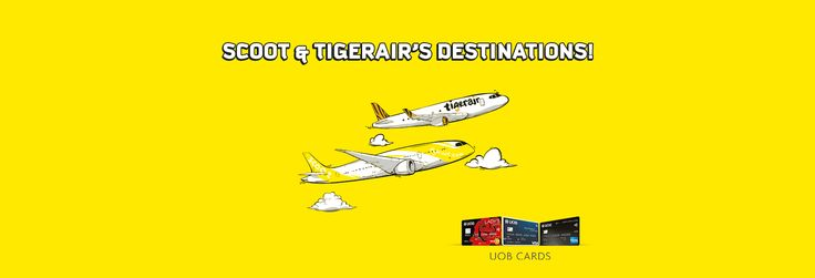 20% off 58 Scoot and Tigerair Destinations with your UOB Card! #CreditCard #FlyScoot #ScootSingapore #UOB #UOBDeals #UOBPromos credit card, FlyScoot, Scoot Singapore, UOB, UOB Deals, UOB Promos