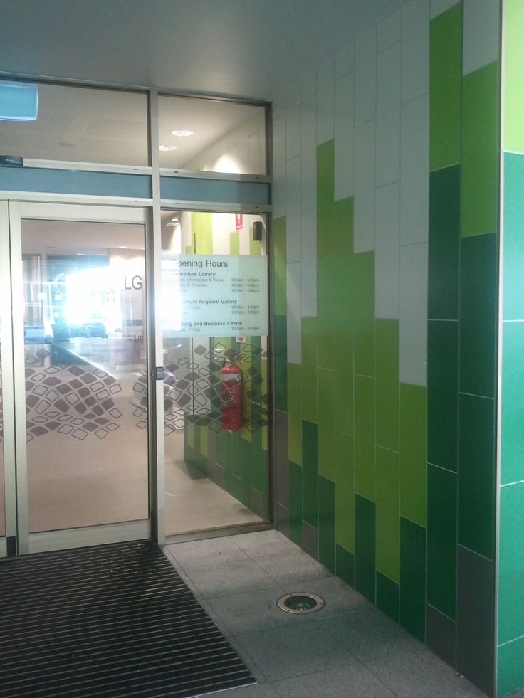 Caboolture State Library - mixed colour wall in ceramic tiles