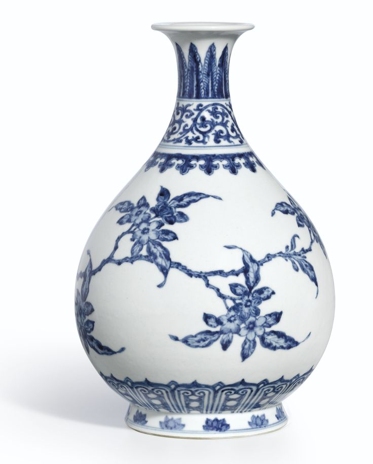 A RARE MING-STYLE BLUE AND WHITE 'BIRD AND FLOWER' VASE, YUHUCHUNPING<br>MARK AND PERIOD OF YONGZHENG | lot | Sotheby's