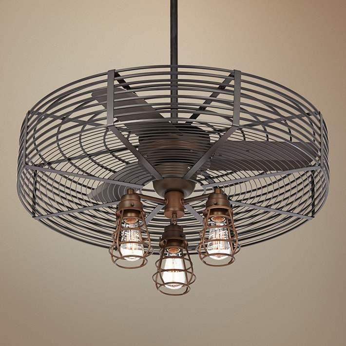 "Kitchen Fans With Lights: 32"" Vintage Breeze 3-Light Bendlin Cage Ceiling Fan"