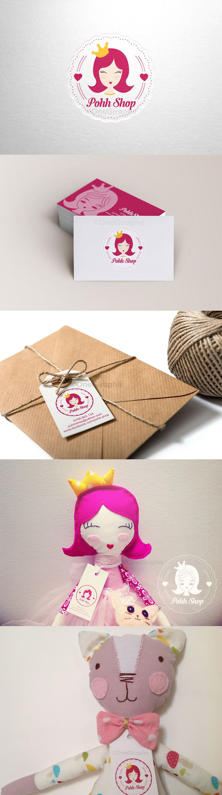 #handmade #doll #princess #brand #branding #logo #baby #children #kids #cute #sweet #pink #logodesign #behance #brandstack #dribbble #rugdoll #fabricdoll #fashion Brand for Pohh Shop : Logo , business cards, tag, stickers, watermark  https://www.facebook.com/pohh.shop