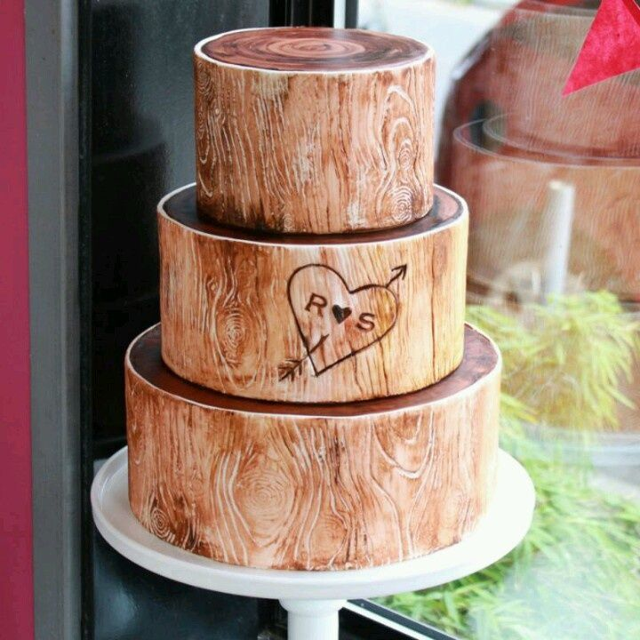 Rustic Quot Wood Quot Wedding Cake Wedding Ideas Pinterest