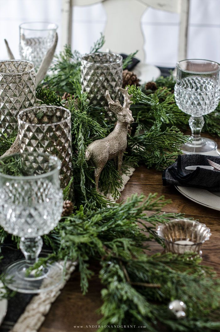 Rustic Woodland Christmas Tablescape Woodland Christmas Decor Christmas Centerpieces Woodland Christmas