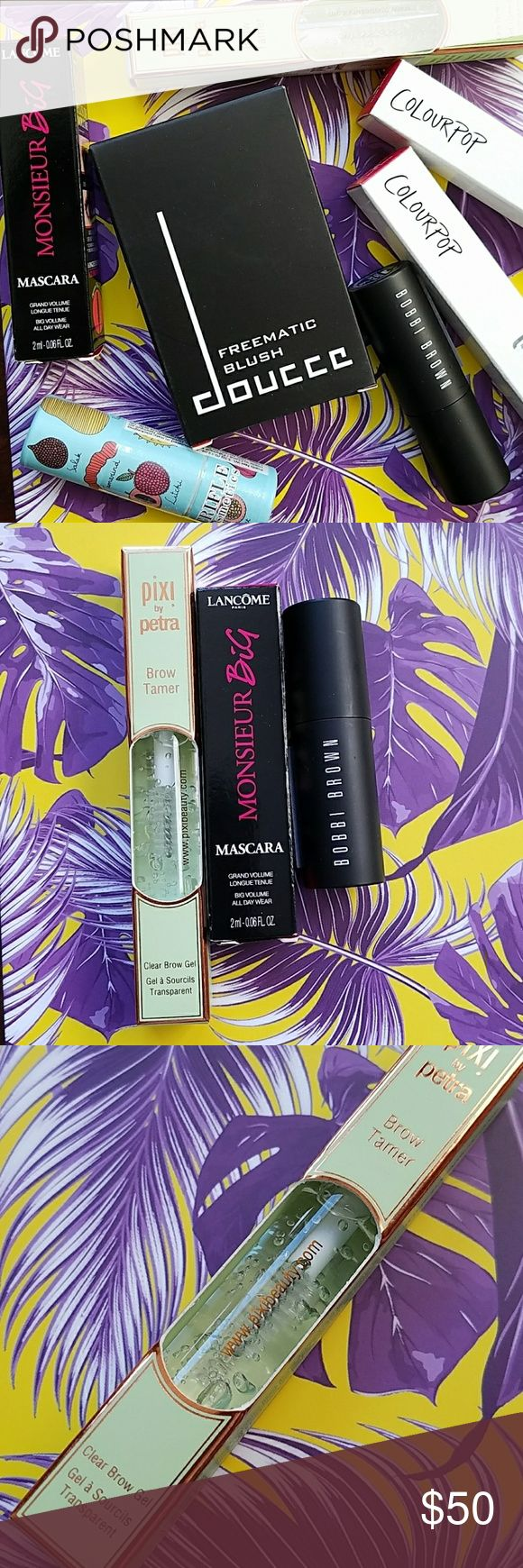 Put Your Best Face Forward Bundle Full sized/deluxe sample makeup in tropical print Glossybox. All products are new, never swatched, from Sephora and Glossybox. August Play! card included.   X2 Colourpop in Speed Dial & Wednesday, 3.2 g Trifle Lip Parfait in Exotic Fruits, 3.5 g Doucce Freematic Blush, colors not labeled but  probably Pink Beach and Summer Sunset.  Pixie Brow Tamer, clear, 0.15 oz. Monsieur Big mascara in 01, 0.06 oz. Bobbi Brown Eye Opening mascara in Black, 0.17 oz…