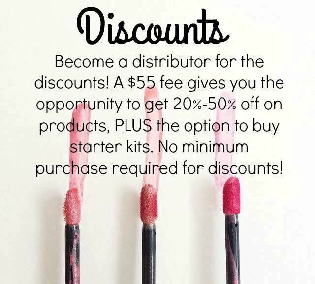 Do you love discounts? Get 20-50% off on your skin care, makeup, and lipstick. When your friends see that your lipstick and makeup stays on all day, they are going to want it! Sell it at a 50% profit!
