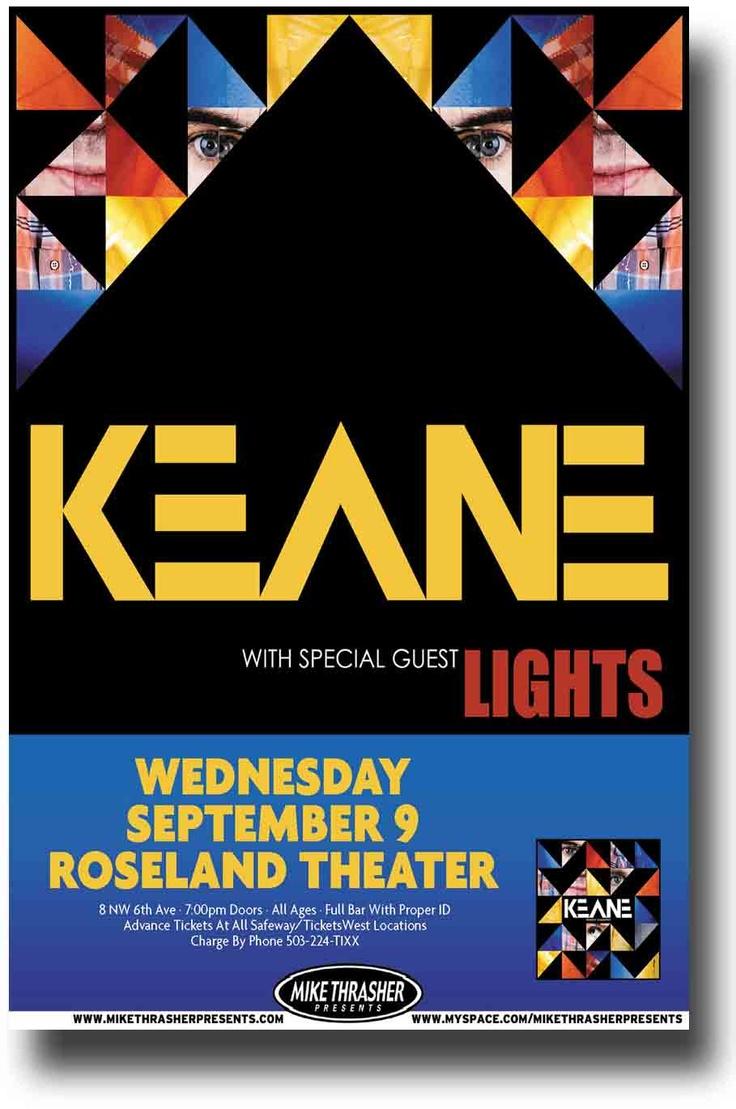 Design poster for concert - Keane Poster Concert 9 84 Keane