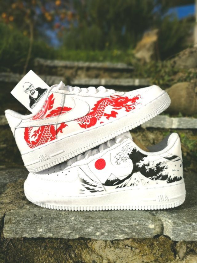 Custom sneakers Nike Air Force 1 'Red dragon' in 2020 (With