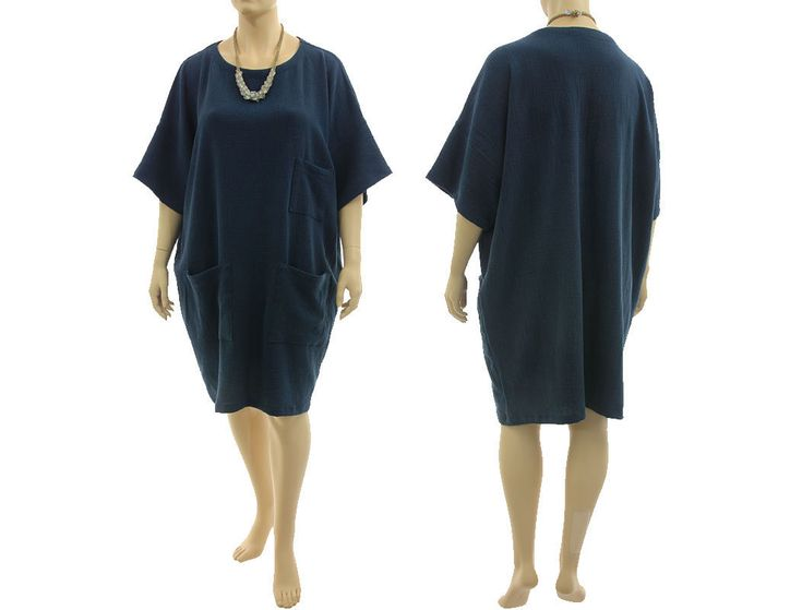 Lagenlook oversized dress 3 pockets, linen in dark blue XL-XXL