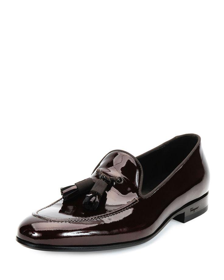 Salvatore Ferragamo Luxury Patent Leather Tassel Loafer, Brown, Men's,  Size: 42.5EU