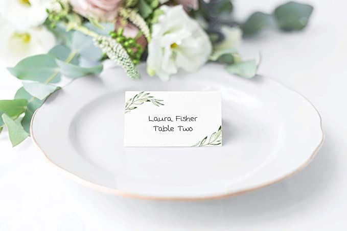 Greenery Place Cards Pack Of 25 Tent Table Cards Food Sign Seating Card Folded Bridal Shower Place Cards Place Cards Agate Wedding Invitations