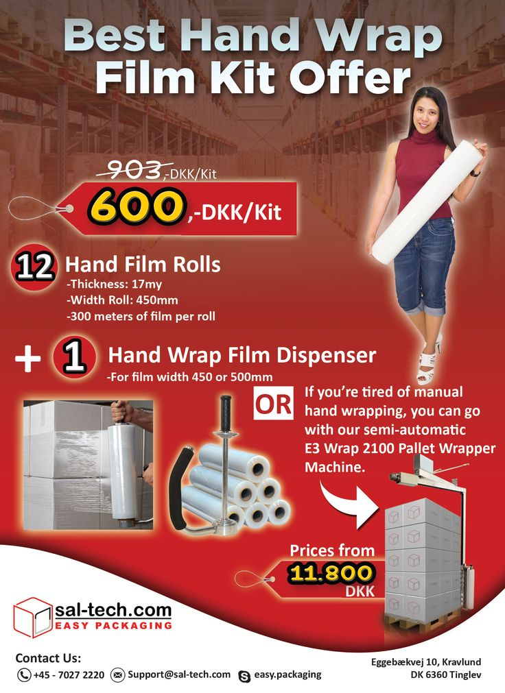Get 12 Hand Fill Rolls with FREE Hand Wrap Film Dispenser for only 600,-DKK Inquire now at support@sal-tech.com