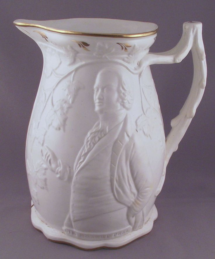 VICTORIAN MOULDED POLITICAL JUG c:1850 ROBERT PEEL & RICHARD COBDEN - CORN LAWS