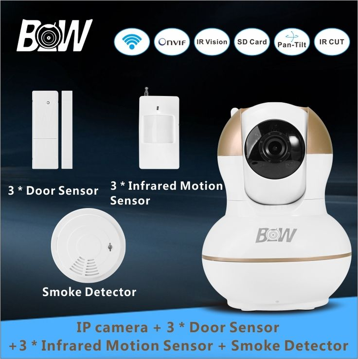 107.74$  Buy now - http://aliouv.worldwells.pw/go.php?t=32582682850 - Video Surveillance Camera IP Wireless +3 Door Sensor + 3 Infrared Motion Sensor +Smoke Detector WiFi Security Camera BW12G 107.74$