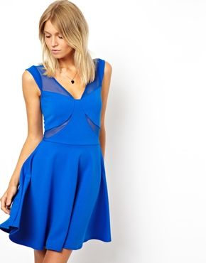 ASOS Skater Dress With Mesh Inserts