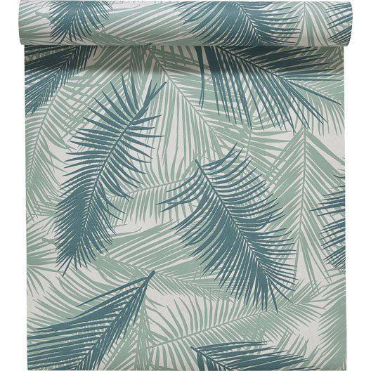 Papier peint intisse feuille de palme vert entreprise - Papier peint metallise leroy merlin ...
