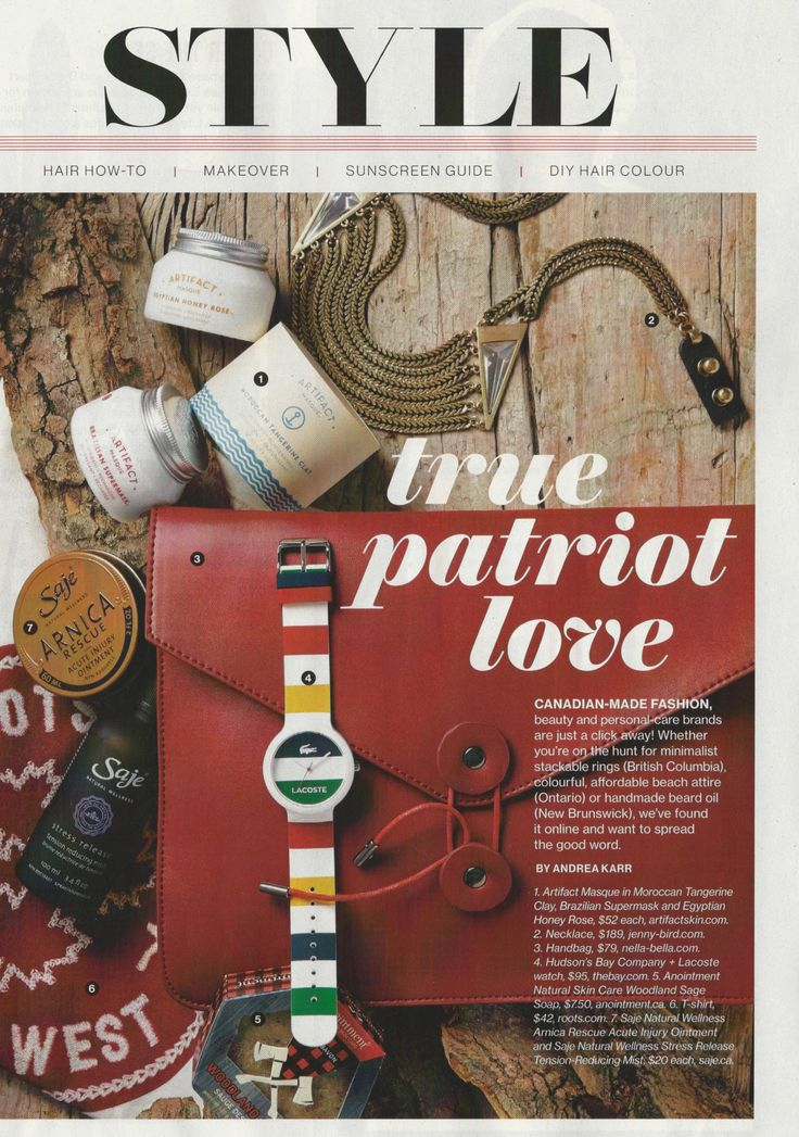 Anointment Woodland Sage Soap featured in True Patriot Love Style - July 2015 Issue of Canadian Living Magazine.