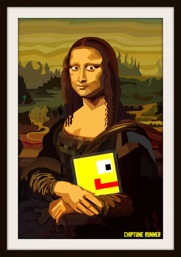 Chiptune Runner Mona Lisa Concept