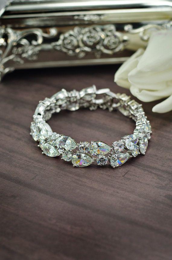 cubic zirconia bracelet, wedding cz bracelet by MarinaUA