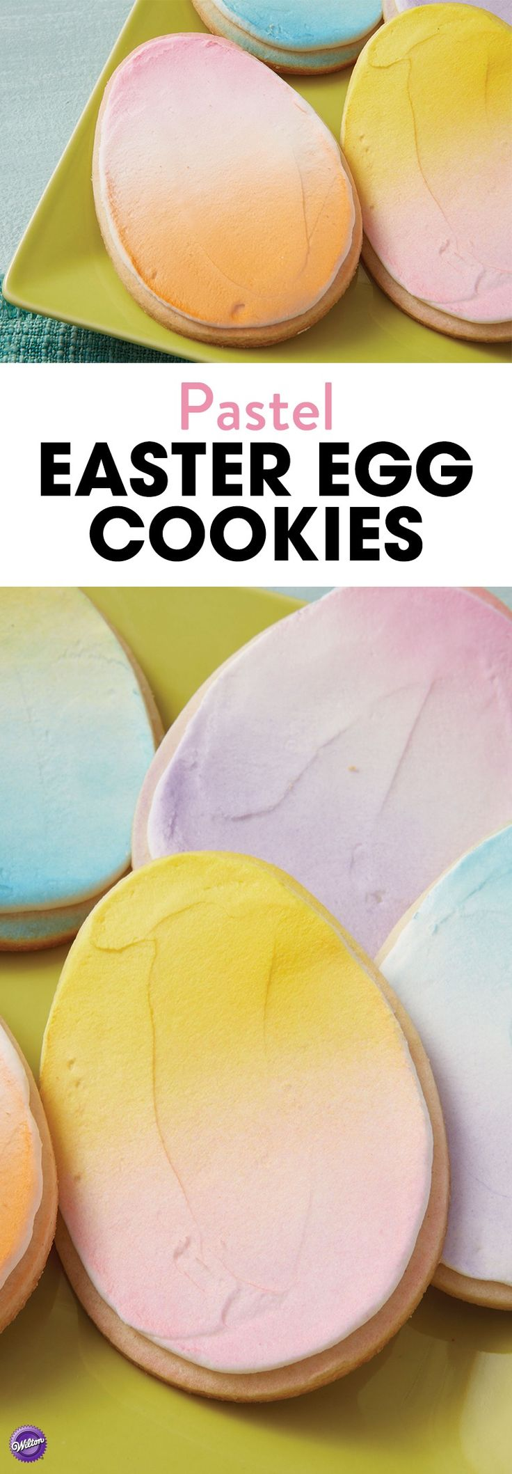 Coloring eggs is an Easter tradition, so why not color egg cookies too? Add the pretty pastel colors onto iced cookies using Wilton Color Mist Food Color Spray.