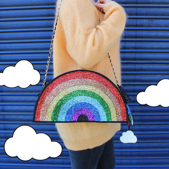 Glitter Rainbow Clutch Handbag by LunaontheMoon on Etsy