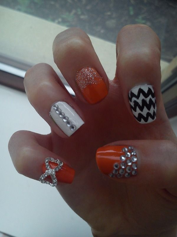 91 Best Images About Nails Bright Peach And Orange Bling