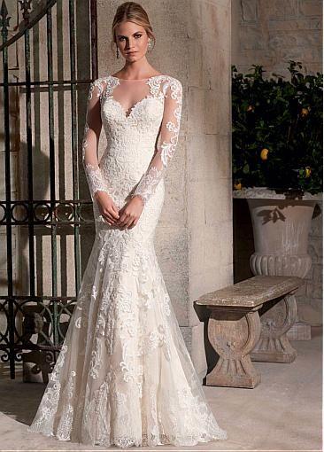 Glamorous Organza Long Sleeves Bateau Neckline Natural Waistline Mermaid Wedding Dress