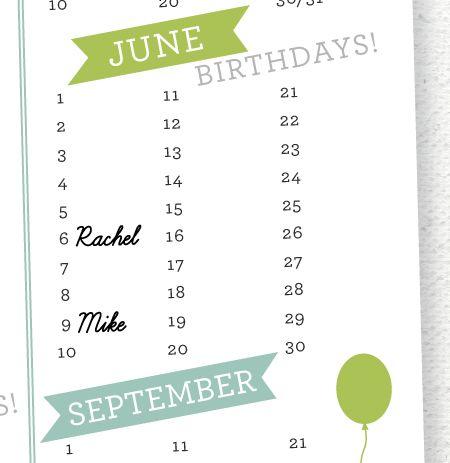28 best Printable Birthday Calendar images on Pinterest Planners - sample birthday calendar