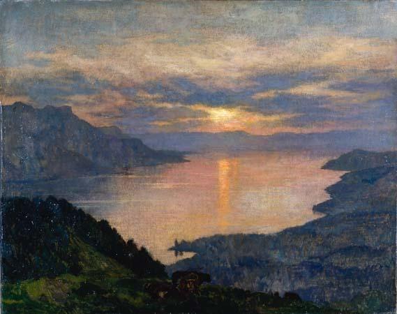 Lac de Geneve au Soleil Couchant. Emile-Rene Menard