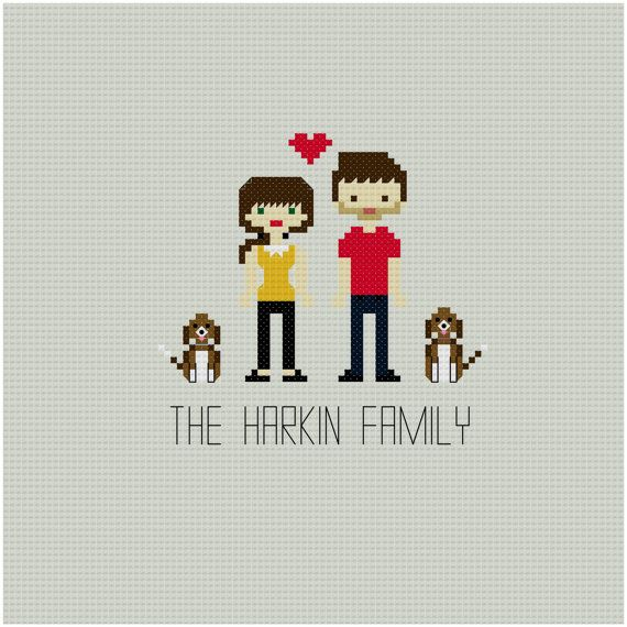 CUSTOM Family Cross Stitch Pattern by YouMakeMeSewHappy on Etsy