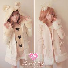 Princesa casaco lolita doce Bobon21 arco urso de pelúcia fuzzy casaco outerwear casaco de lã de inverno chapéu ouvido com arco rosa c0932(China (Mainland))