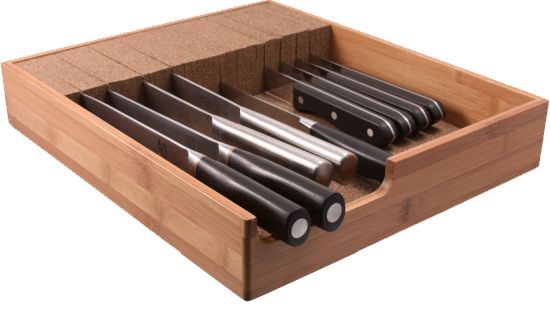 With counter space always at a premium, our ingenious knife storage system allows you to neatly tuck away your cutlery from the countertop to the kitchen drawer.  Get one for free with some social love at KnifeDock.com!