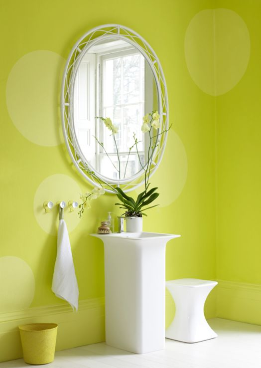 This Lime Green Bathroom Is The Perfect Wake Up Call The White Addition Adds A