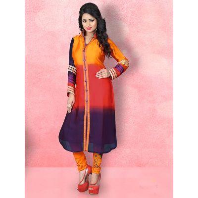 Fine designer printed yellow red satin silk kurti