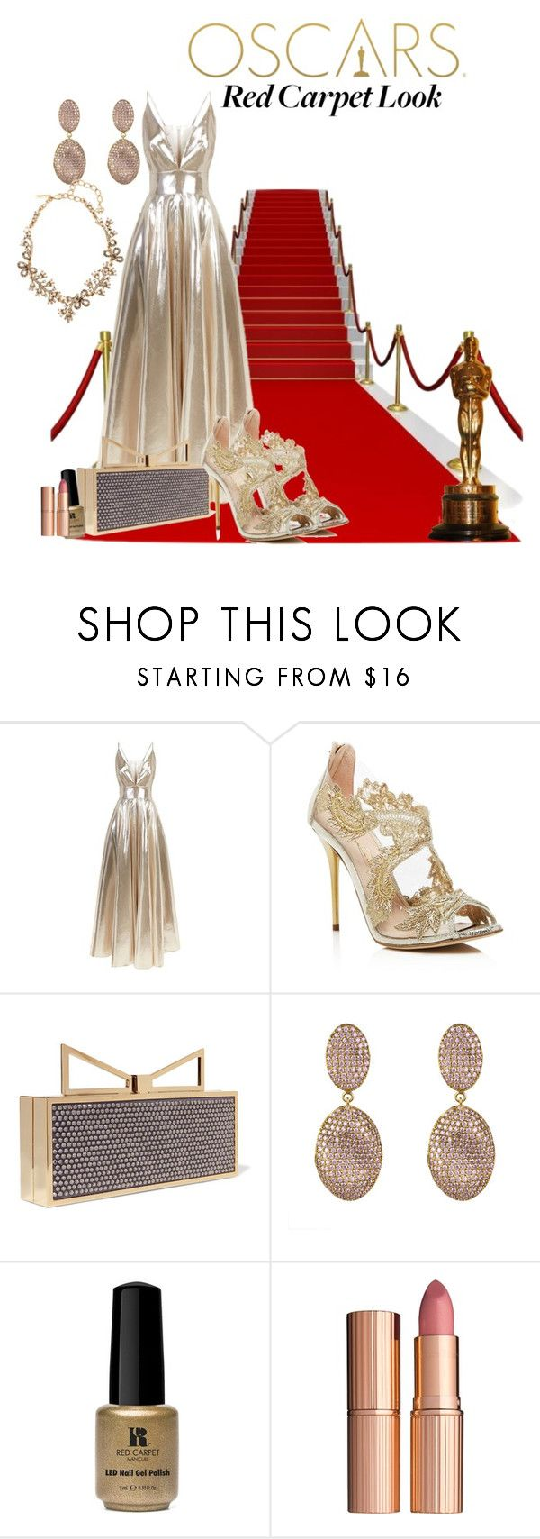 """Oscars 2017"" by jsandoval ❤ liked on Polyvore featuring La Mania, Oscar de la Renta, Sara Battaglia, Red Carpet Manicure and Charlotte Tilbury"