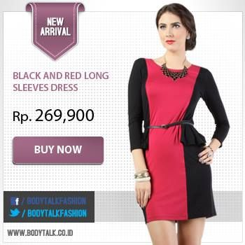 Stylish on color block with Black and Red Sleeves Dress. Grab it fast ladies >> www.bodytalk.co.id
