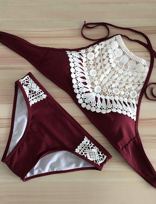 Unique Halter Bikini Sets in Halter Trim- Tankinis Code: 1358474 - Cheap Wholesale Price - Clothescheap.com