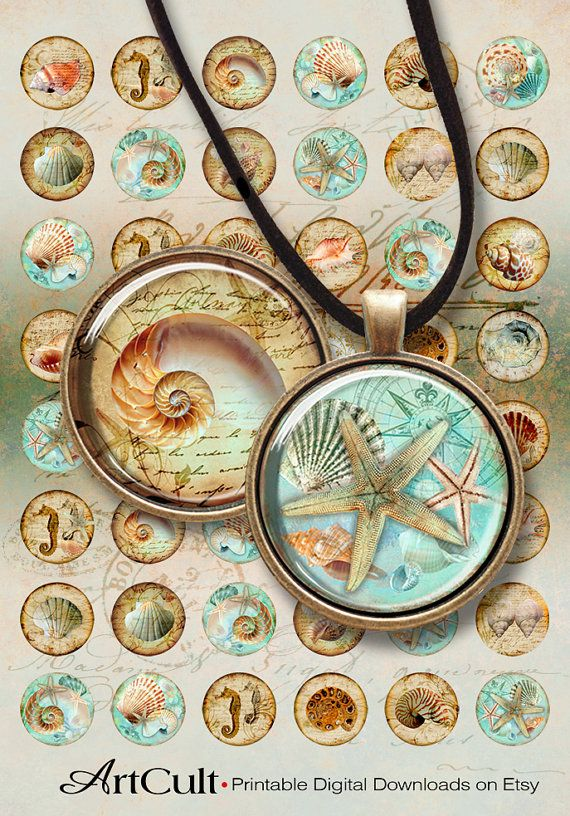 30mm (1.25 inch) size images NAUTILUS Digital Collage Sheet Printable download for bezel trays glass or resin cabochon Pendants bottlecaps