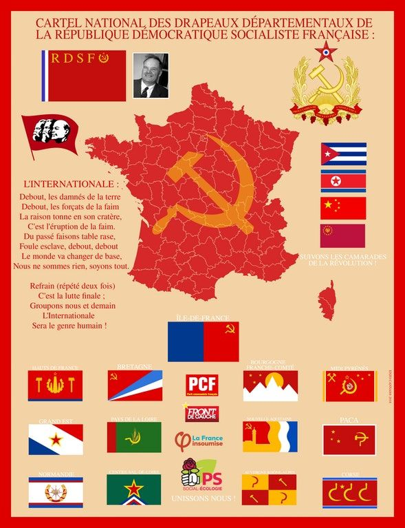 France Map Flag.My Map Of The Communist Flags Of Every French Region Vexillology